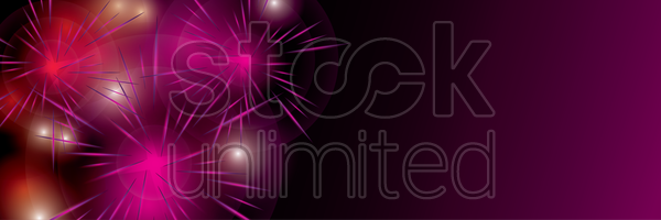 horizontal fireworks banner vector graphic