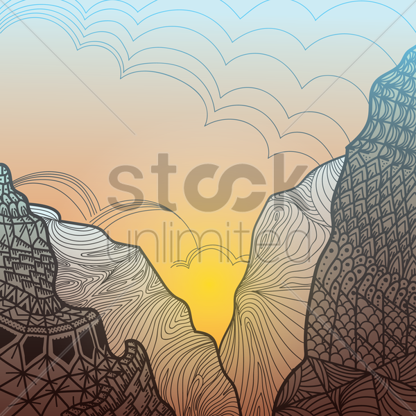 intricate mountain design vector graphic