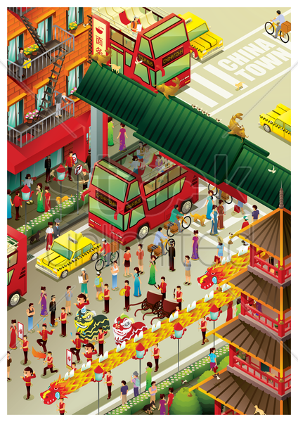 isometric china town vector graphic