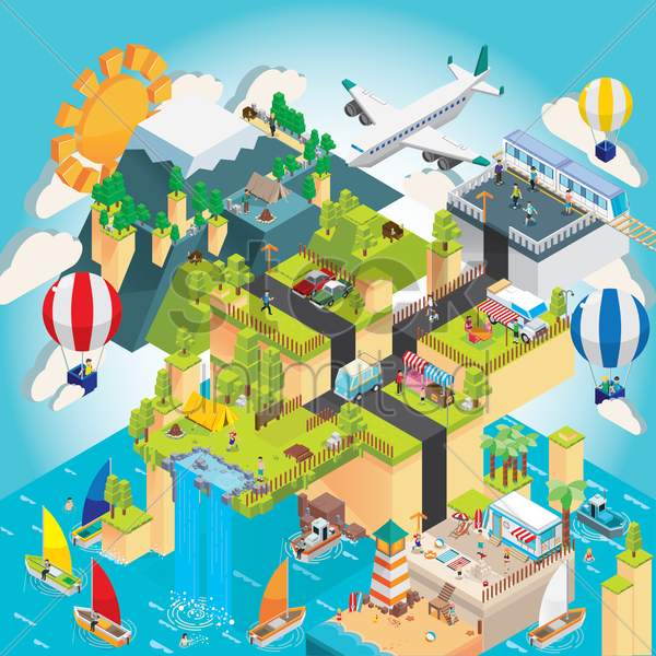 isometric cityscape vector graphic