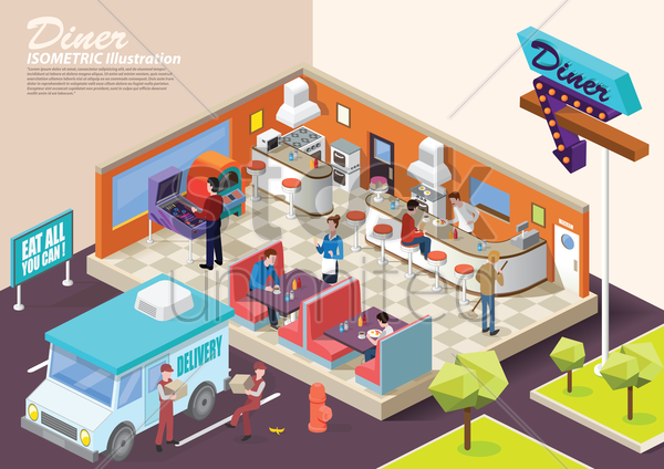 isometric restaurant vector graphic