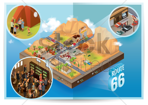 isometric route 66 vector graphic