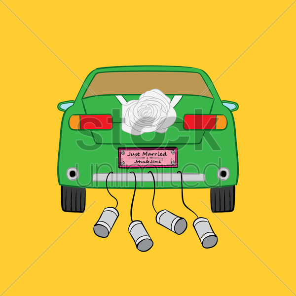 just married car vector image  1334902  stockunlimited