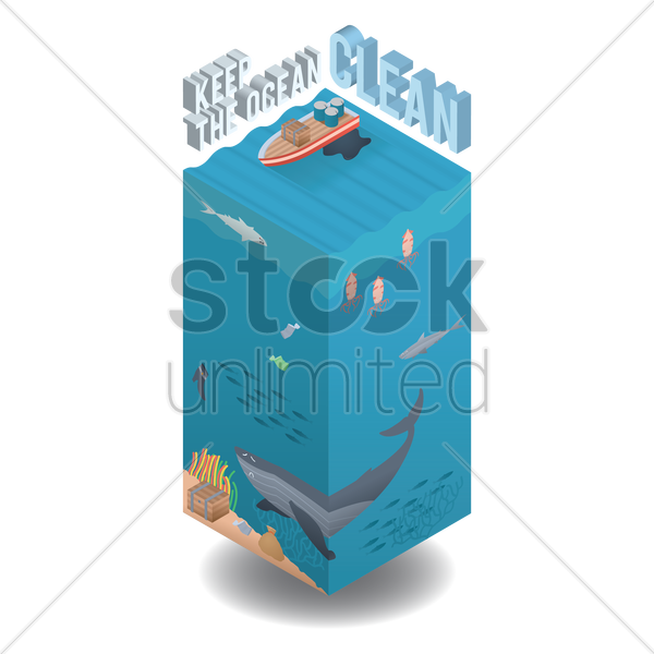 keep the ocean clean vector graphic