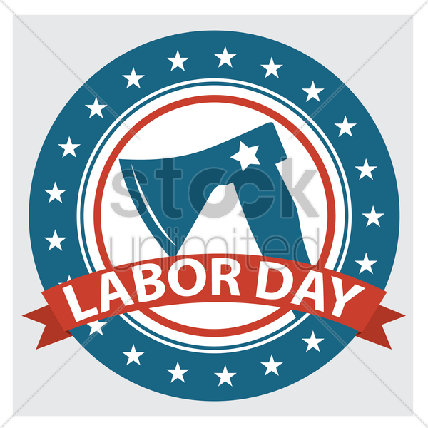 labor day label vector graphic