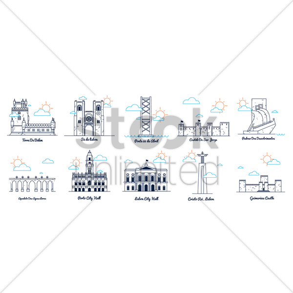 lisbon landmarks and monuments vector graphic