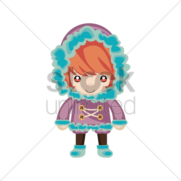 f2c812704a83 Little girl with winter outfit Vector Image - 1299078