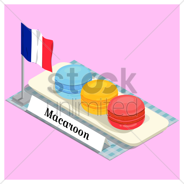 macaroon with france flag vector graphic