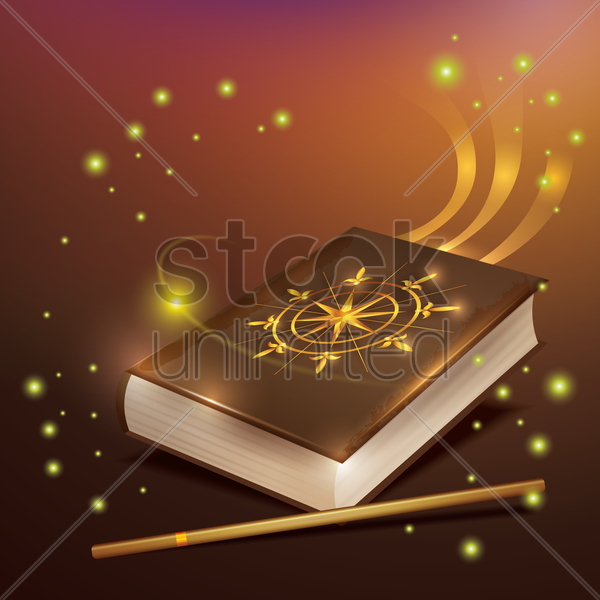 magic book with wand vector graphic