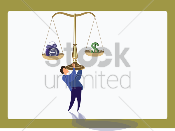 man lifting a justice scale vector graphic
