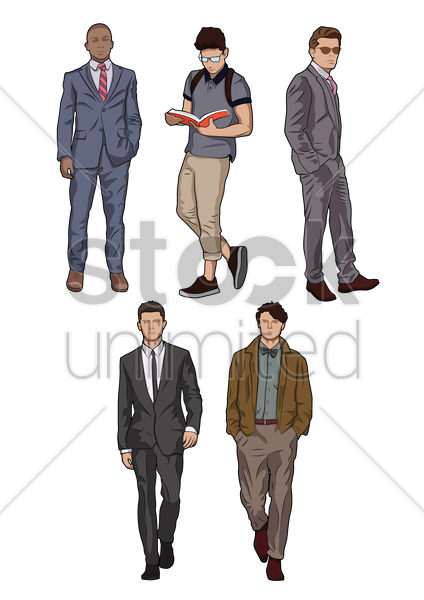 men posing collection vector graphic