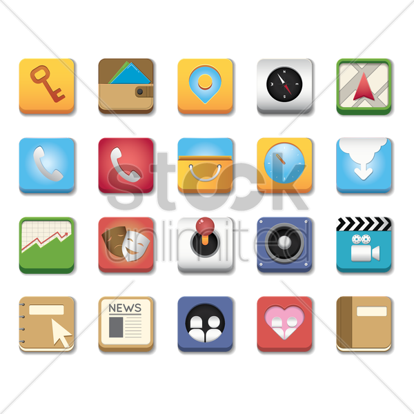 mobile icons vector graphic