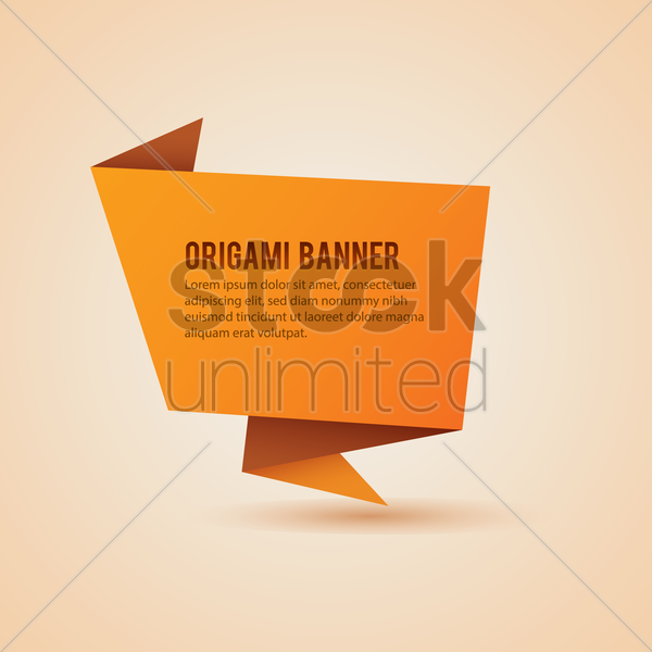 Origami Banner Design Vector Graphic