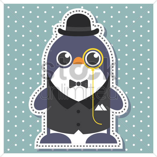 Free penguin as a gentleman vector graphic