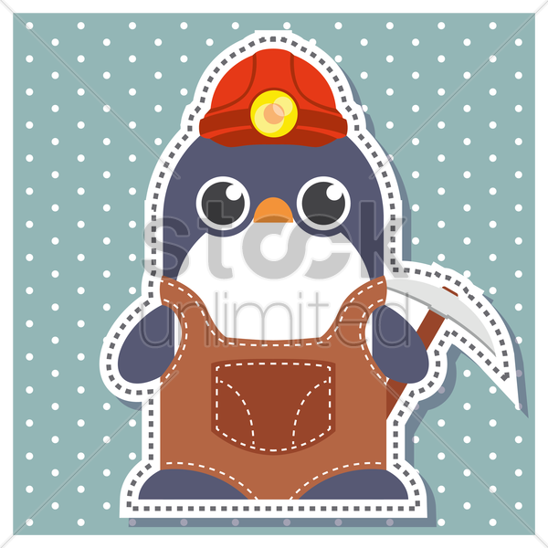 Free penguin as a miner vector graphic