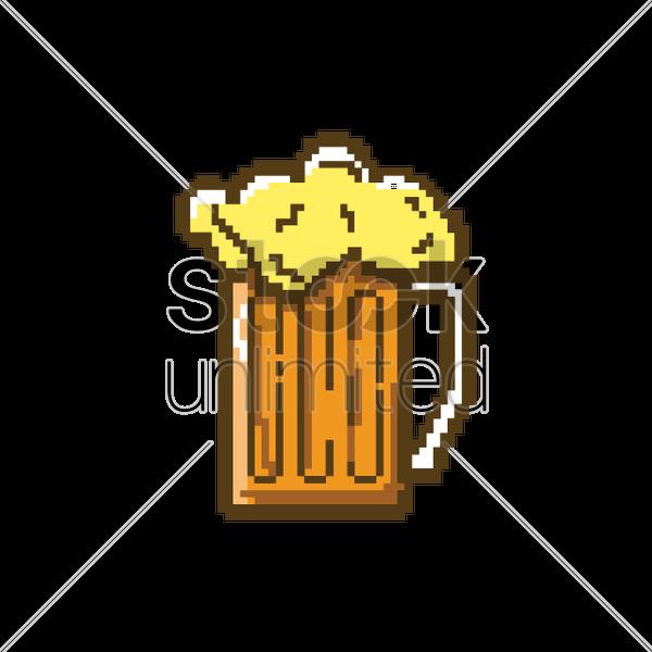 Pixel Art Glass Of Beer Vector Image 1959714 Stockunlimited