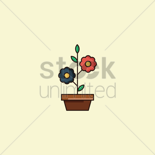potted plant vector graphic