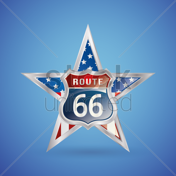 route 66 badge vector graphic