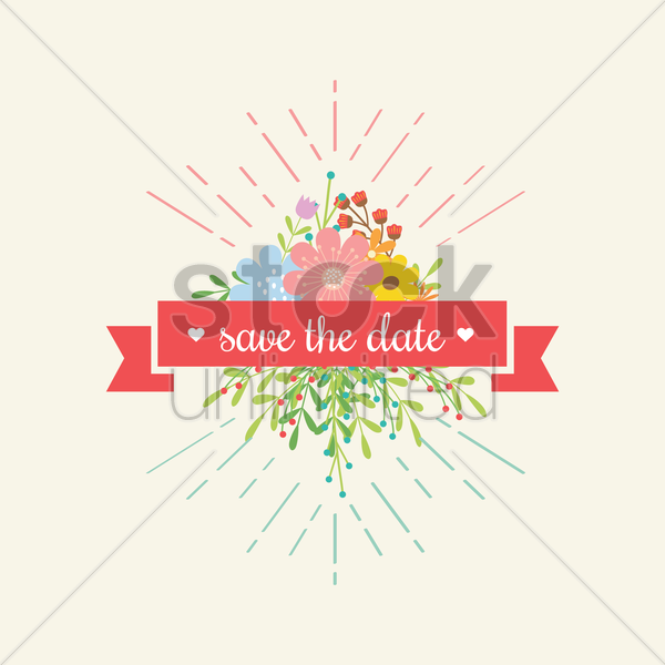 Save The Date Ribbon With Flowers Vector Image 1823670