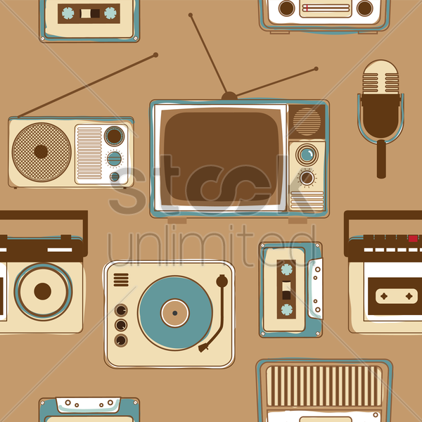 seamless pattern of vintage media gadgets vector graphic