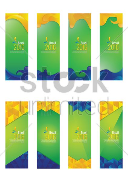 set of brazil 2016 banners vector graphic