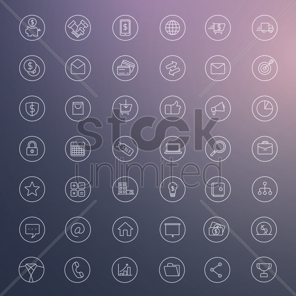 Free set of business icons vector graphic