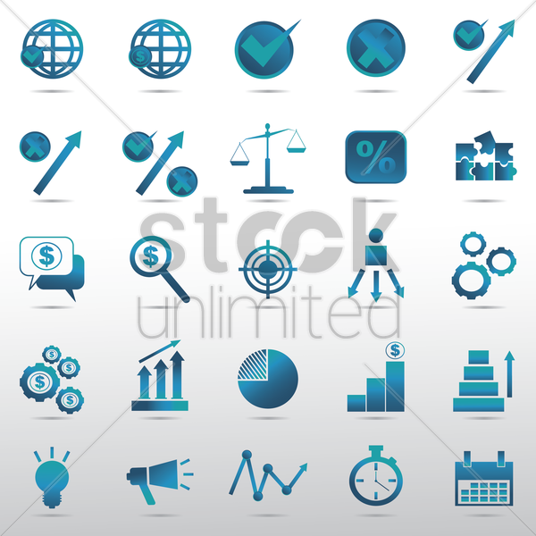 set of business strategy icons vector graphic