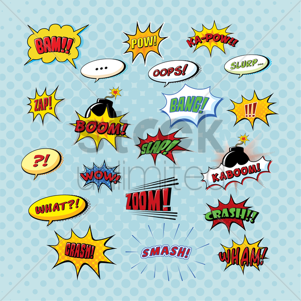 set of comic bubbles vector graphic