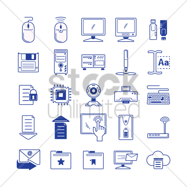 set of computer icons vector graphic