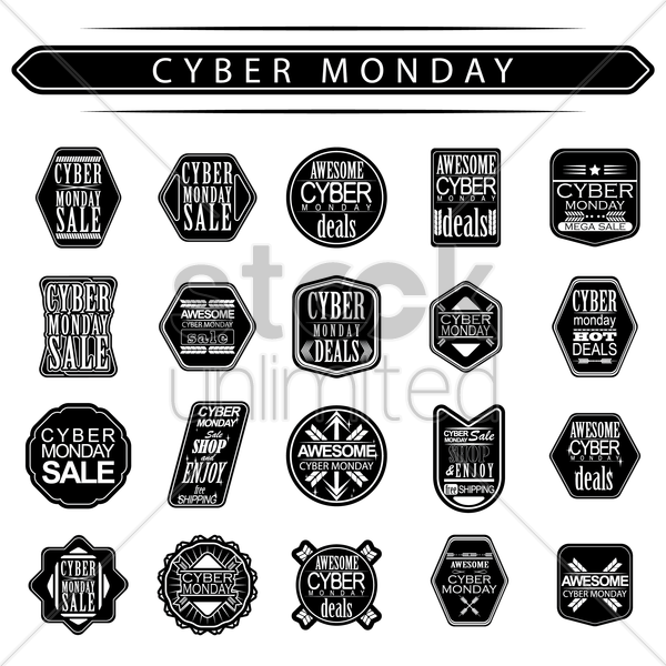 set of cyber monday sale labels vector graphic