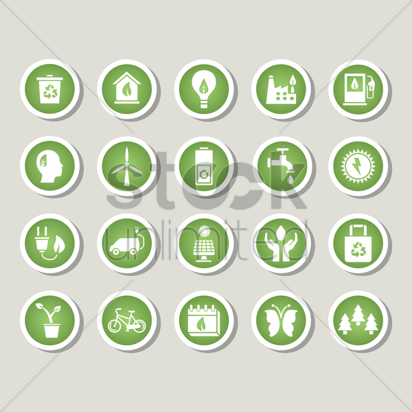 set of eco icons vector graphic