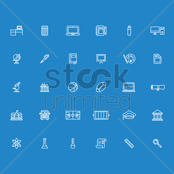 set of education icons vector graphic