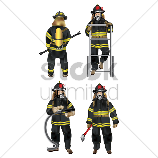 set of firefighter icons vector graphic