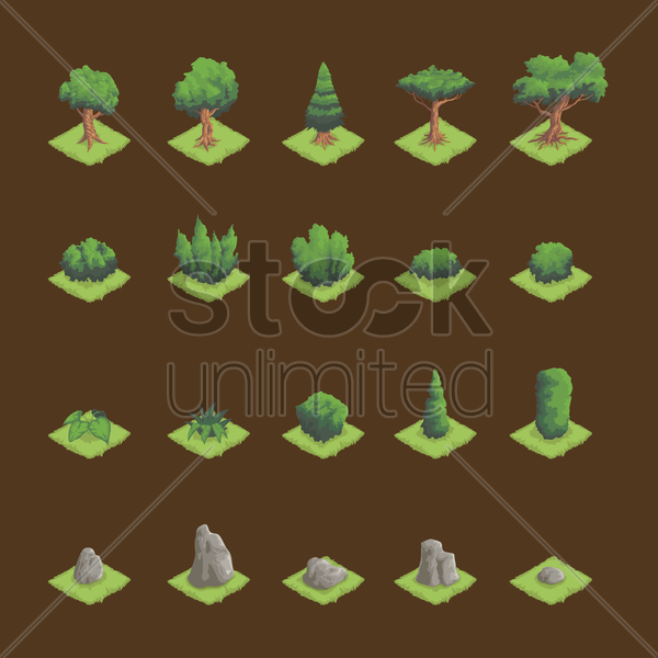 Free set of isometric trees and granite stone vector graphic