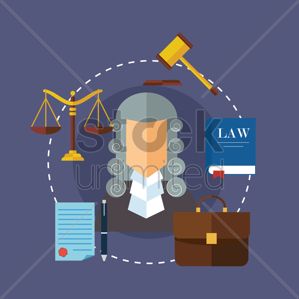 set of law design icons vector graphic