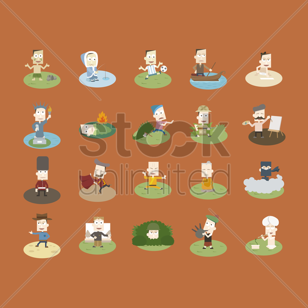set of man in different culture vector graphic