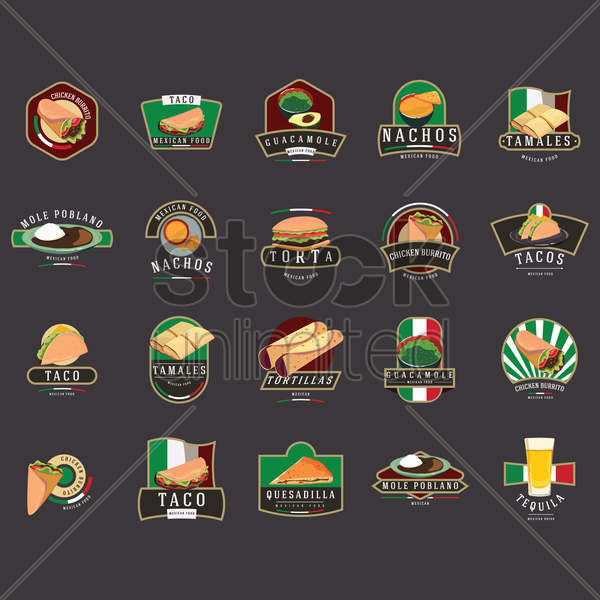 set of mexican foods vector graphic