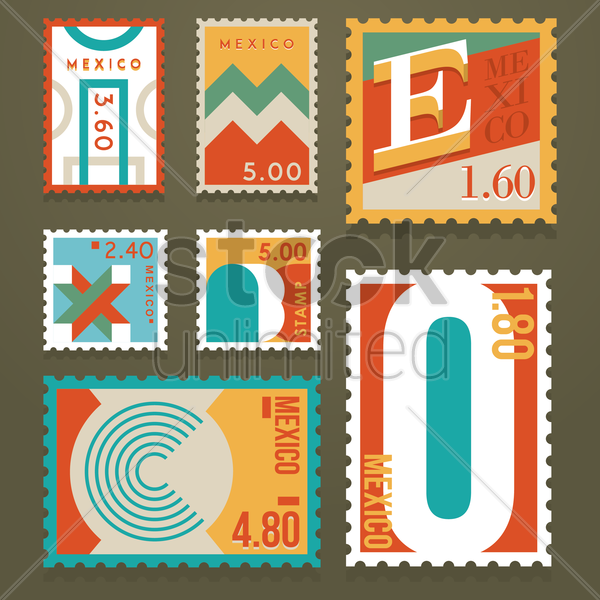 set of mexico postal stamp vector graphic