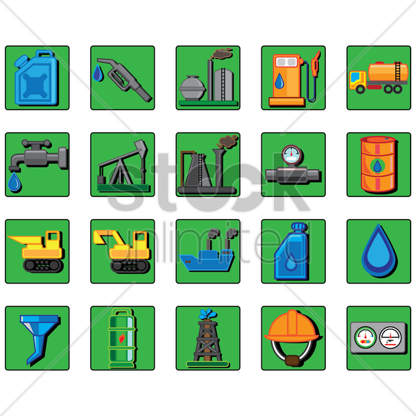 set of oil and gas icons vector graphic