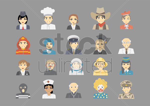set of professional icons vector graphic