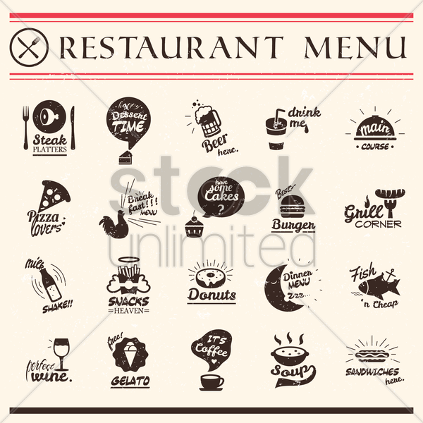 set of restaurant menu vector graphic