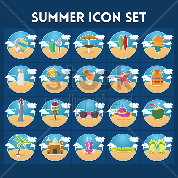 Set of summer icons Vector Image - 1820238 | StockUnlimited