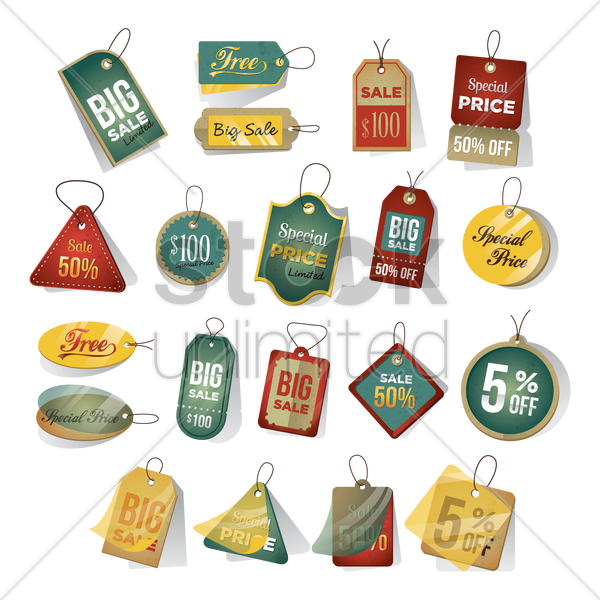 set of tags vector graphic