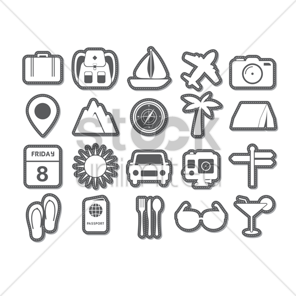 set of traveling icons vector graphic