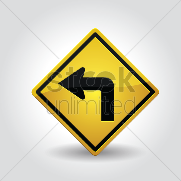sharp left turn sign vector graphic