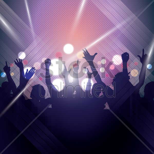silhouette of people partying vector graphic