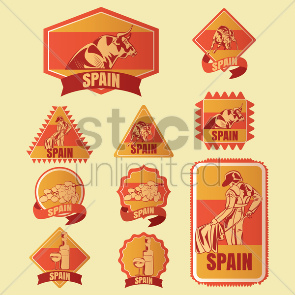 spain stickers vector graphic