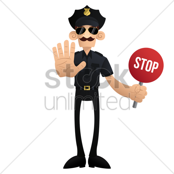 traffic policeman with stop signboard vector graphic