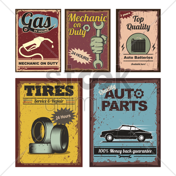 vintage car posters vector graphic