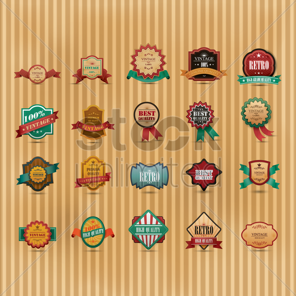 vintage label set vector graphic